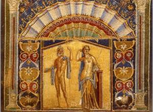 mozaieken afbeelding man en vrouw in goudkleuren, badhuis in Herculaneum