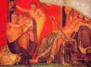 Theater tafareel schildering in Pompeii